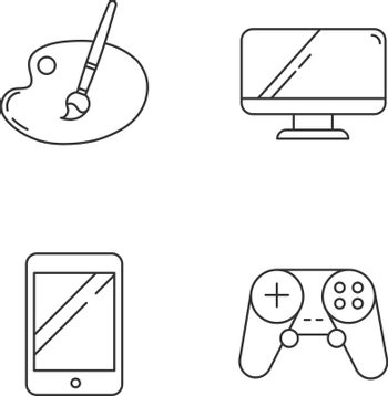 Recreation linear icons set