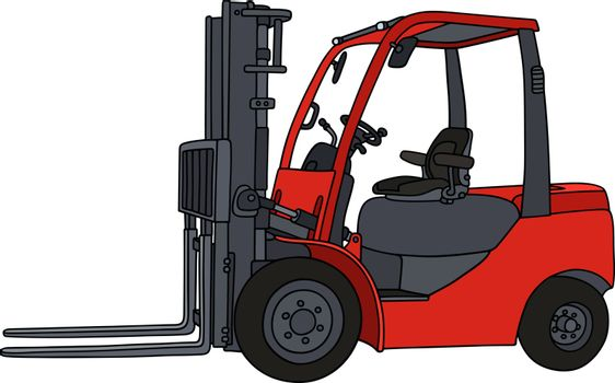 Red hydraulic forklifts