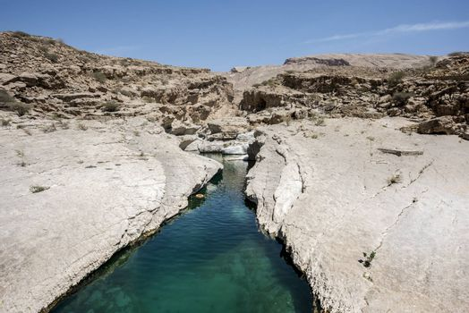 River (with turquoise water) and pool in the canyon of Wadi Bani Khalid, a tourist attraction and famous destination of the Sultanate of Oman, Middle East
