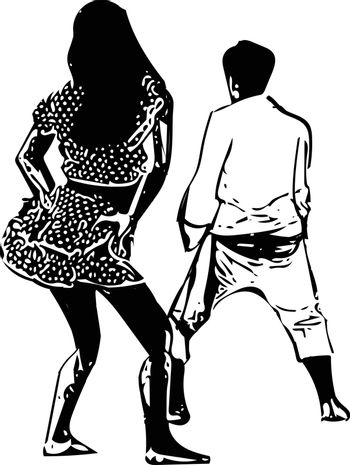drawing of couples dancing