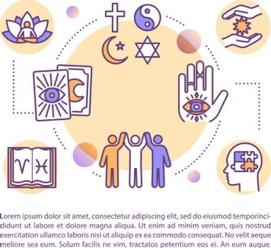 Modern religion concept icon with text. New age philosophy. Spiritual community. Esoteric knowledge. PPT page vector template. Brochure, magazine, booklet design element with linear illustrations