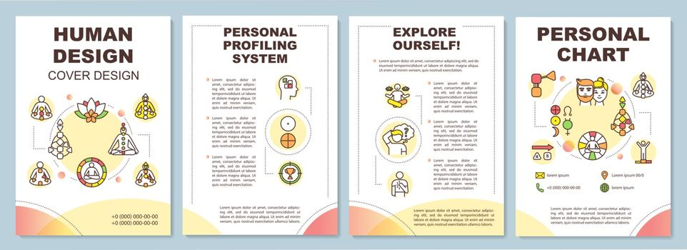 Human design brochure template. Personality classification. Flyer, booklet, leaflet print, cover design with linear icons. Vector layouts for magazines, annual reports, advertising posters