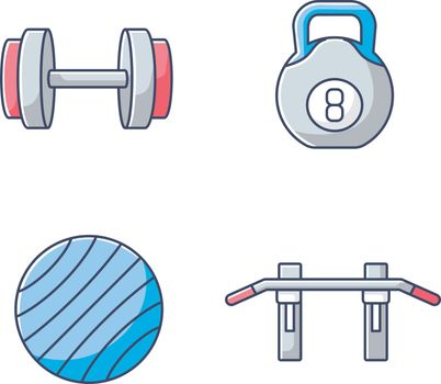 Weight training RGB color icons set