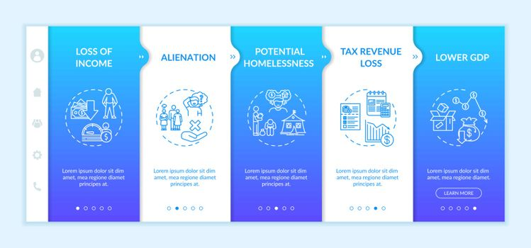 Unemployment effects onboarding vector template
