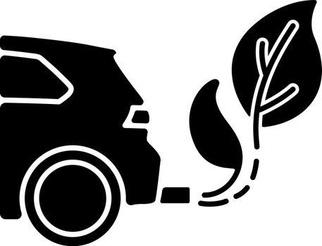 Zero tailpipe emissions black glyph icon