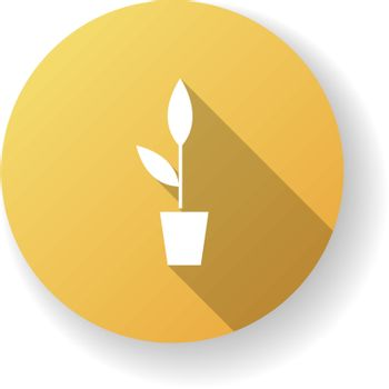 Potted plant yellow flat design long shadow glyph icon