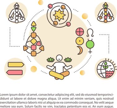 Spiritual knowledge concept icon with text. Religious experience. Personal development. PPT page vector template. Brochure, magazine, booklet design element with linear illustrations