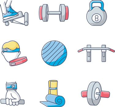 Workout equipment RGB color icons set. Strength training at home, fitness exercise. Sport gear for indoor gymnastics and pilates. Isolated vector illustrations