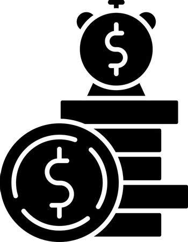 Deposit black glyph icon
