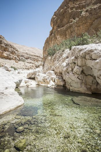 Turquoise water of the river going thru the canyon of Wadi Bani Khalid, Sultanate of Oman. This is one of the most visited place of the country