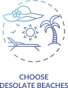 Choose desolate beaches concept icon