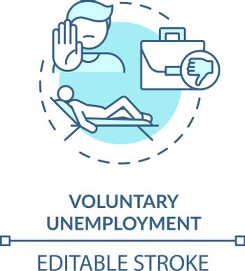 Voluntary unemployment turquoise concept icon
