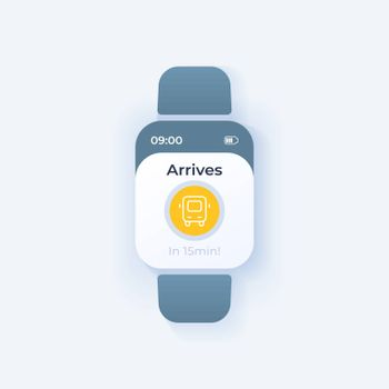 Bus tracking smartwatch interface vector template. Mobile app notification light mode design. Public transport arrival reminder on screen. Flat UI for application. Bus icon on smart watch display