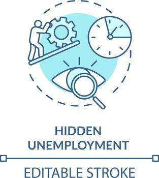 Hidden unemployment turquoise concept icon