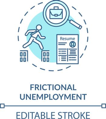 Frictional unemployment turquoise concept icon