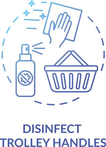 Trolley handles disinfection concept icon