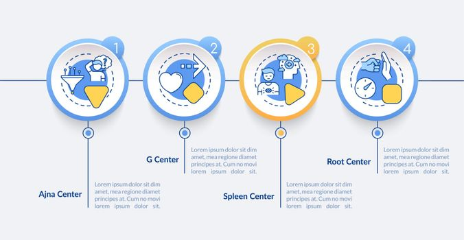 Energy circulation vector infographic template. Human body centers presentation design elements. Data visualization with 4 steps. Process timeline chart. Workflow layout with linear icons