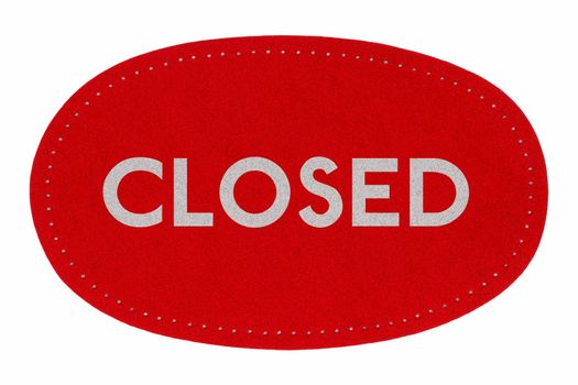 Red closed sign isolated over white background