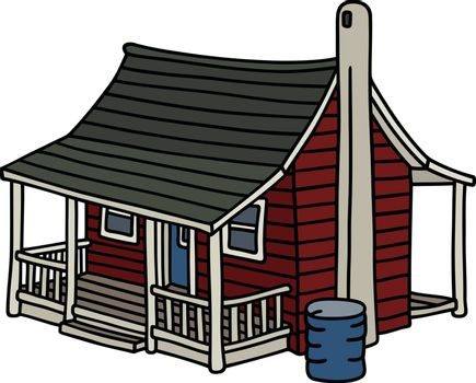 Hand drawing of a classic dark red scandinavian planked house