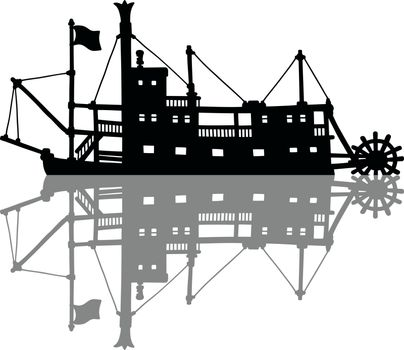 The silhouette of a  vintage steamboat