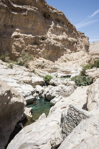 People swimming in the clear turquoise water of Wadi Bani Khalid, Sultanate of Oman, Middle East