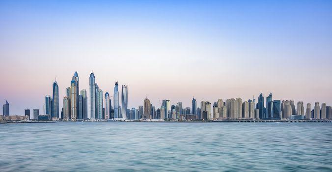 Buldings of Dubai Marina from the Palm Jumeirah Dubai, United Arab Emirates - NL