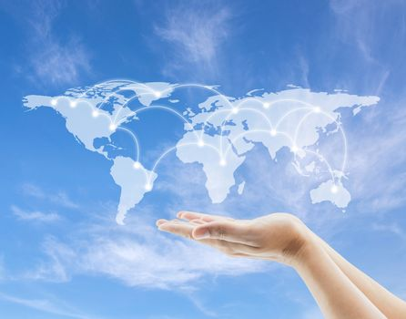 World map and network sketch with hold hand to sky background, E