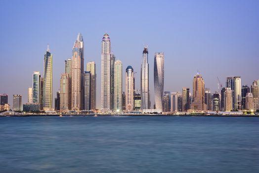 Buildings of Dubai Marina from the Palm Jumeirah Dubai, United Arab Emirates - NL