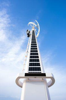 Solar and wind turbine hybrid systems installed at Dubai open beach Jumeirah, United Arab Emirates