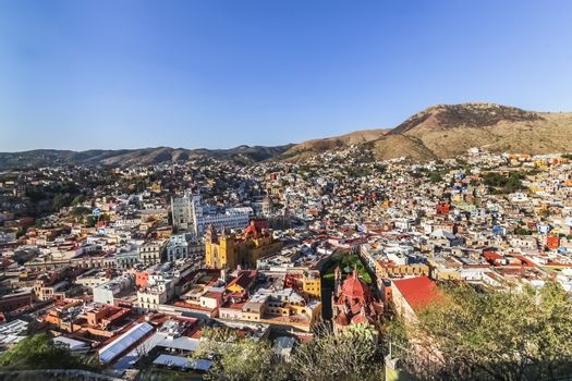 Aerial birds eye view of the colorful city of Guanajuato in Mexico