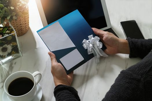 Businessperson Hands holding New Gift Card or Credit card,digita