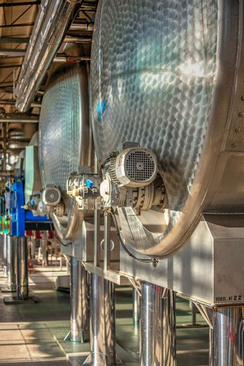 Shabo, Ukraine 09.29.2019. Modern equipment for the production of wine in the Shabo winery, Odessa region, Ukraine