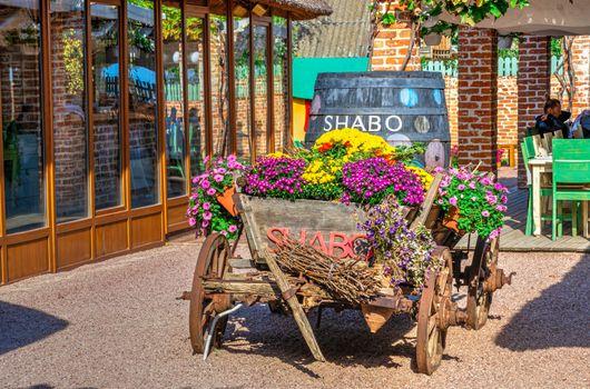 Shabo, Ukraine 09.29.2019. Restaurant in the Shabo winery, Odessa region, Ukraine, on a sunny autumn day