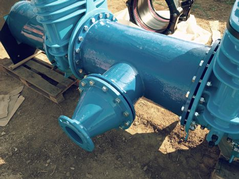 Water  piping with new Gate valves and reduction member