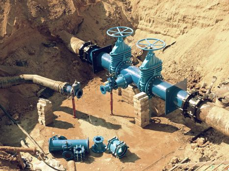 Reconstruction of main City water supply pipeline in underground.