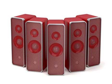 Group of five red speakers on white background