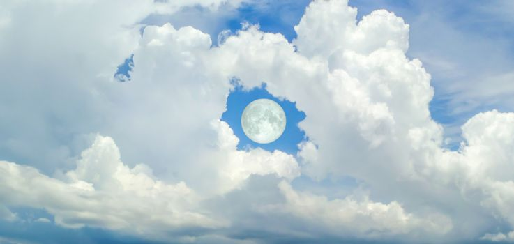 super moon in the hole of donut cloud sky and heaven sunshine a