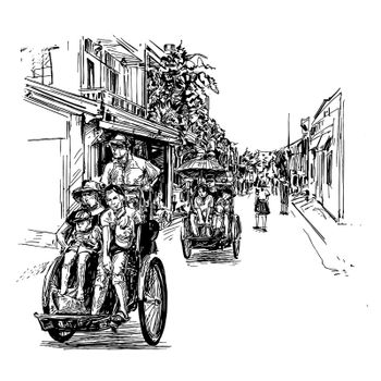Drawing of the tricycle in Vietnam