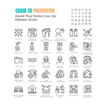 Simple Set of Coronavirus Disease 2019 Covid-19 Line Icons. such Icons as Symptoms, Infection, Laboratory Testing, Social Distancing, Stay Home, Quarantine. 64x64 Pixel Perfect Editable Stroke. Vector