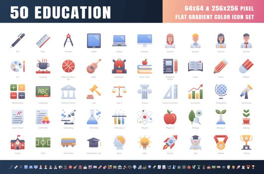 Vector of 50 Education and School Subject. Flat Gradient Color Icon Set. 64x64 and 256x256 Pixel. Vector.