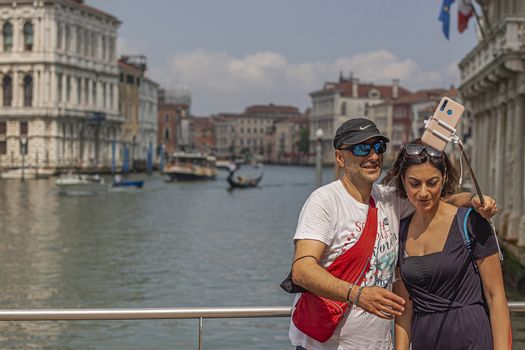 VENICE, ITALY 2 JULY 2020: Couple tourists in venice