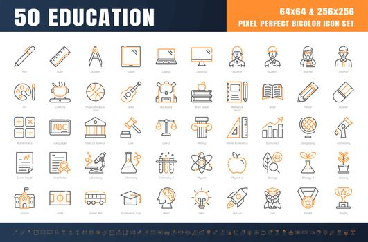 Vector of 50 Education and School Subject. Bicolor Line Outline Icon Set. 64x64 and 256x256 Pixel Perfect Editable Stroke. Vector.