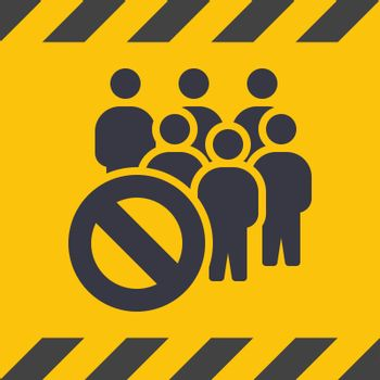 Social Distancing. Yellow Caution Sign With Euro Tape. Coronavirus Disease 2019 Covid-19 Prevention, New Normal Concept. Solid Glyph Icon. Symbol Vector Illustration EPS 10.