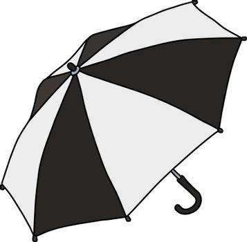 The vectorized hand drawing of a black and white umbrella