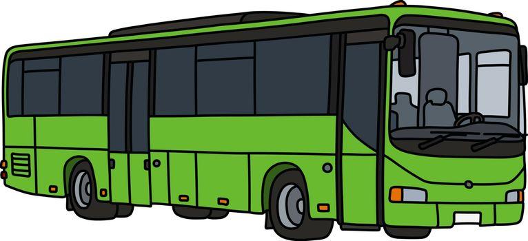 The light green touristic bus
