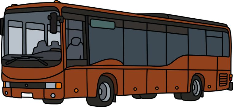 The vectorized hand drawing of a brown bus