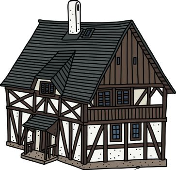 The vectorized hand drawing of a historical half timbered house