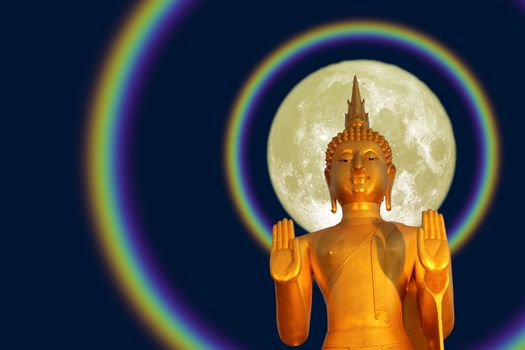 Buddha pacifying the ocean and full moon two halo on the Asanha