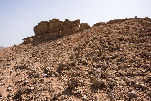 Rock formation in the mountain near Wadi Dayqah Dam, Sultanate of Oman