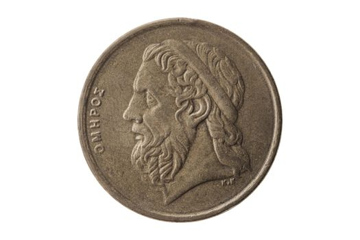 Greek 50 drachmas coin dated 1988 with a portrait image of Homer